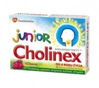 Cholinex Junior, smak malinowy, 16 pastylek do ssania